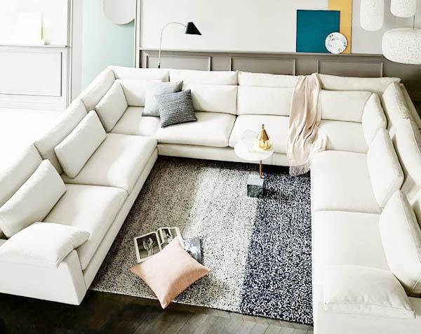 chi tiết chuyên sâu về sofa vải nỉ chữ U phòng khách